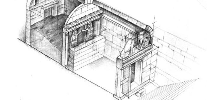 图片说明:这张简图展示了迄今为止考古学家在kasta hill墓穴中的发现.