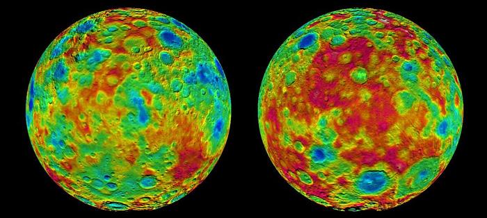 """图片说民:以上是""""黎明号""""所获取的两幅彩色编码地形图,显示了谷神星表面高低起伏的地貌。左图以东经60度为中心;右图以东经240度为中心。图片来源:NASA/JPL-Caltech/UCLA/MPS/DLR/IDA"""